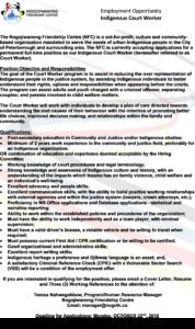 Indigenous Court Worker Job Posting 2018
