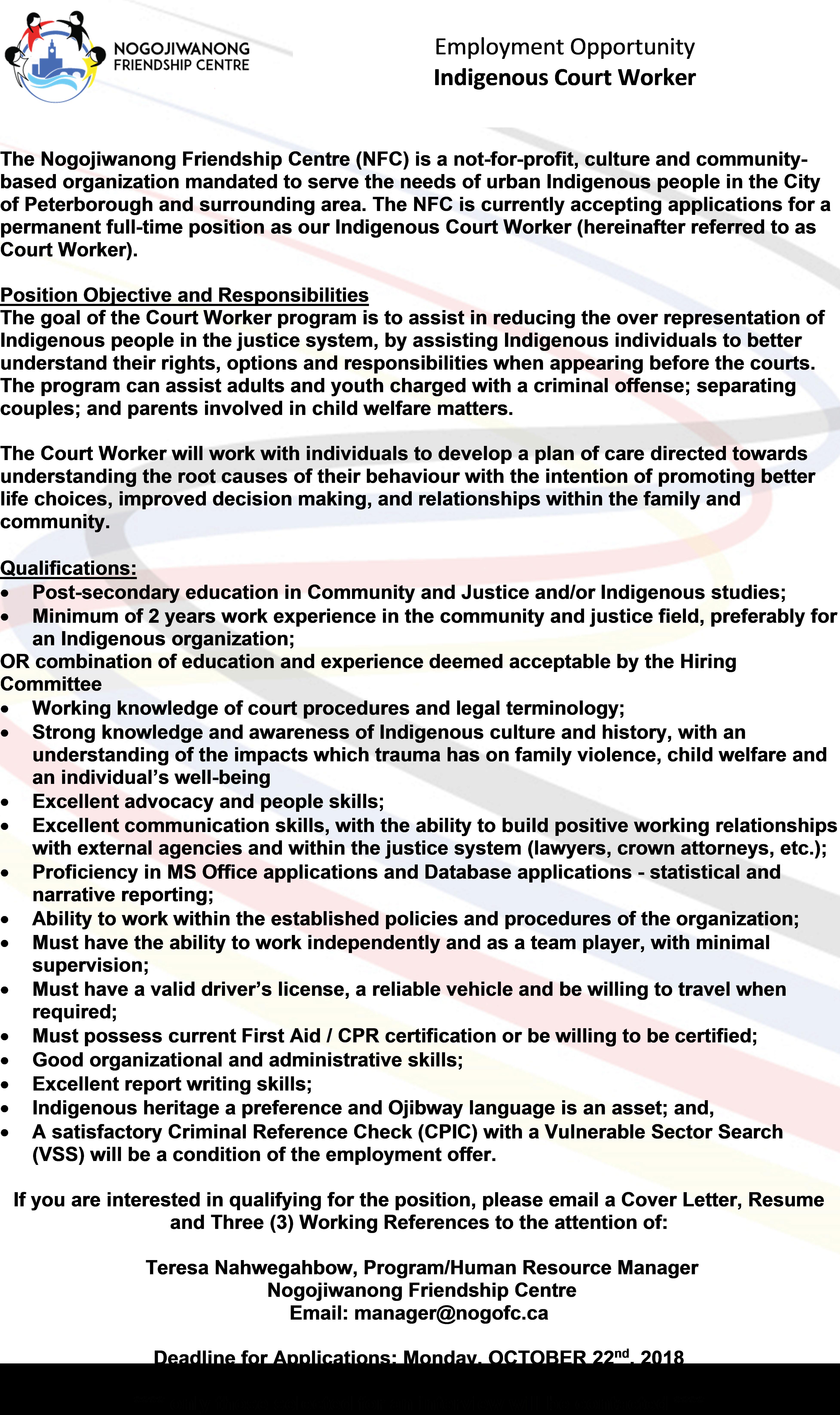 Employment Opportunity-Indigenous Court Worker | Nogojiwanong Friendship